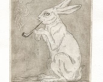 "Original etching ""Rabbit smoking pipe"""