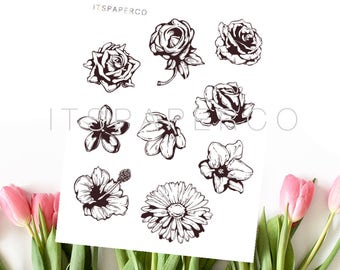 Monochrome Flowers - Bullet Journal Stickers - Planner Stickers - WF005