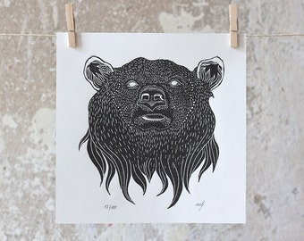 Grizzly bear | Linocut