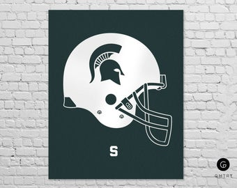 Michigan State Spartans - Fan Art - Spartans Helmet | MSU Football Art | Foiled Sports Print | Michigan State Wall Art | Go Green Go White