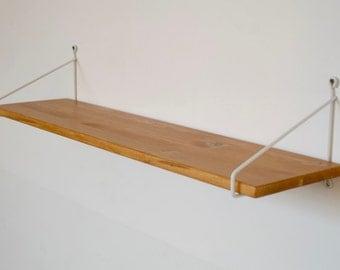 Shelf / Board / wall shelf / wire shelf: 2 single mounts + 1 natural wood floor
