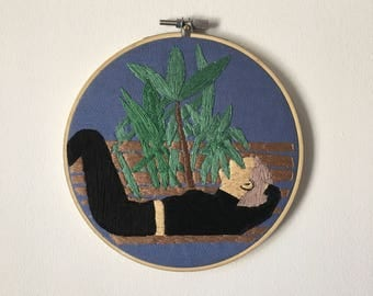 6 inch lounging lady~hand embroidered wall hanging, wall hanging, fiber arts, hoop art, fiber wall art, embroidery hoop art, wall decor