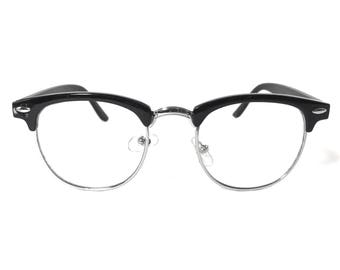 Retro Transparent Clear Lens Clubmaster Style Browline Frame Glasses