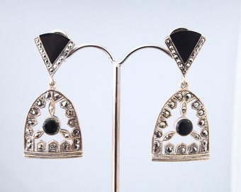 Silver earrings and Onyx and marcacite stones