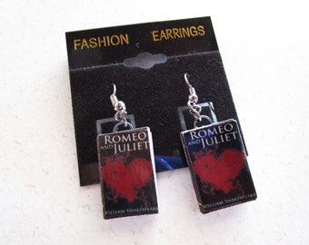 Romeo and Juliet by William Shakespeare Vintage Cover Miniature Book Dangle Earrings