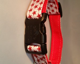 White With Red Stars Collar – 1″