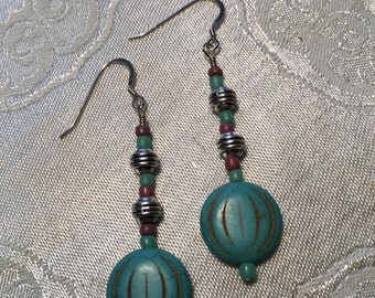Turquoise Howlite and Silver Dangle Earrings