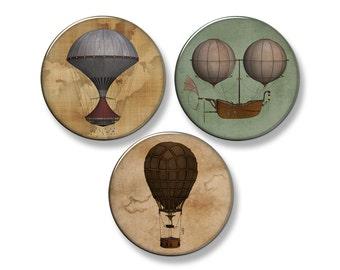 "STEAMPUNK Hot Air Balloons & Airships Fridge Magnet Set - 3 Large 2.25"" Round Magnets (Set #1)"