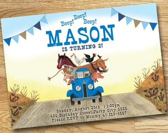Little Blue Truck Birthday Party Invitation // Digital File Only