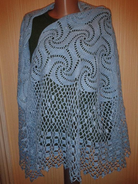 Sciarpa lavorata a maglia fatto a mano blu con filo di for Aggiunta suocera