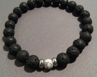 Men's Lava Rock and Netstone Beaded Bracelet With Stainless steel Spacers