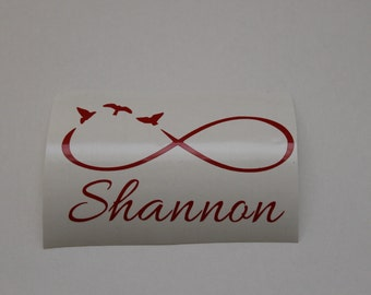 Vinyl Monogram/Yeti Decal/Car Decal/Monogram/Vinyl Decal/Infinity symbol with birds