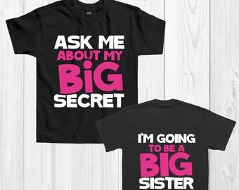 Baby announcement t-shirt   Big Sister T-shirt   'I'm going to be big sister'   Baby announcement t-shirt   PINK