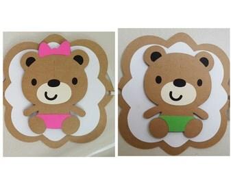 Teddy Bear Baby Shower Banner// It's A Boy// It's A Girl// Teddy Bear Name Banner// Twins Baby Shower Banner