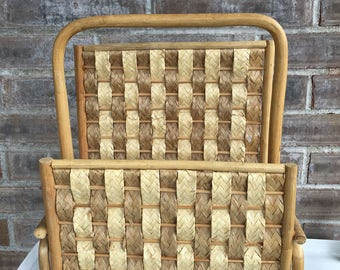 Wicker Wooden Magazine Rack//Boho Magazine Rack//Magazine Storage