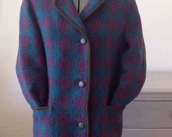 1960s Welsh wool woven tapestry coat size M