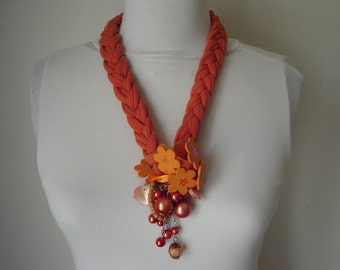 Orange necklace, Recycle necklace, Unique necklaces for women, African jewelry, Jersay braided necklace, Gift for women, Big fabric necklace