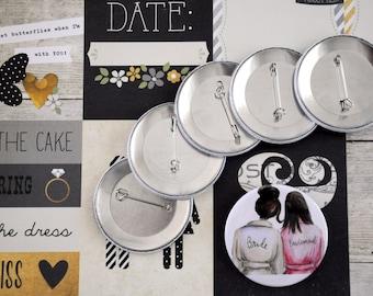 Bride-Bridesmaid badge / Bride-Bridesmaid button /Bride Pin badge / Pin buttons / Wedding Party Favor / Wedding Party Pinback Buttons