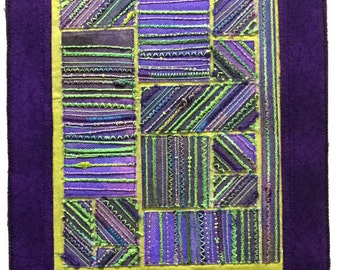 """Lime light. Art quilt. 9x10.5 """". Contemporary textile art. Modern home decor. Abstract fiber art. Artist made."""