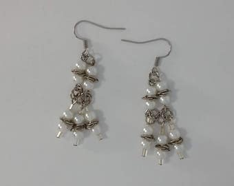 Custom Hand Made Earrings Silver Rosettes with Pearl Beads
