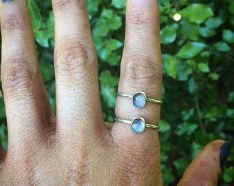 Your Custom Moonstone Stack Rings - Sterling Silver & Made to Order - Artisan Crystal Stackable - Handcrafted Gemstone Stacking Ring