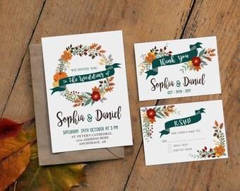 Fall Wedding Invitation Printable, Boho Rustic Invitaiton Set, Custom Wedding Invitations