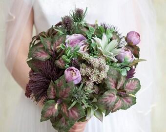 Succulent Bouquet, Purple Bouquet, Purple Wedding Bouquet, Wedding Flowers, Unique Wedding Bouquet, Silk Bridal Bouquet, Green Bouquet