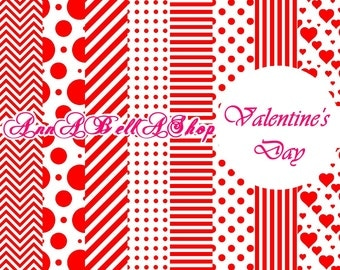 80% OFF SALE Digital Papers Valentine Day 3 - Love Hearts, Printable Backgrounds for Scrapbooking, Card Design, wallpaper.