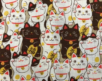 Cute Cat Maneki Neko Fabric Made in Japan