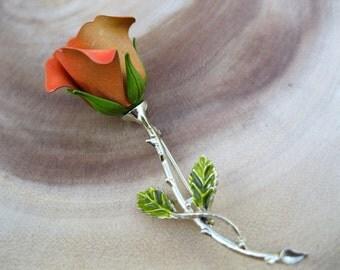 Vintage 60's RETRO Orange Rose Enamel Brooch Pin Flower Jewelry