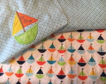 Personalized Baby Blanket with Sailboat Applique