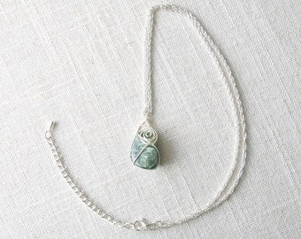 "Speak to Me Necklace - Seraphinite Stone Pendant on a 21"" Silver Plated Chain"