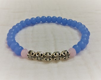 Women's bracelet- periwinkle and pink, silver accents