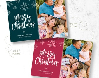 Snowflake Christmas Holiday Photo Cards