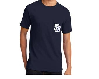 San Diego Padres Mens Pocket T-Shirt // Padres Baseball Pocket Tee