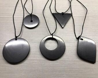 Set of 5 Shungite Pendants Original Polished Jewelry Circle, Triangle, Big circle, Double Circle Protection Healing Karelia Schungit