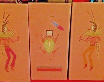 Vintage Original Sand Art of Kachina Dancers- Set of 3- Orignated from Arizona Auction