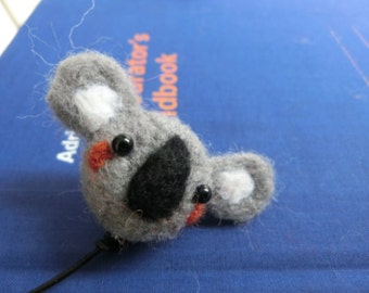Felted Koala Bookmark, Handmade bookmark, Personalized Bookmark, Animal bookmark