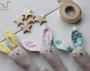 JINGLE BUNNY, a fluffy Bunny all by biting with rattle, softy bunny for baby with jingle-playing baby