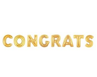 """40"""" CONGRATS Gold Letter Balloon"""