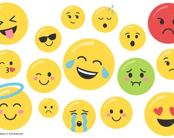 Smiley Face, Emotion, Facial Expression - Cute Clipart, Clip Art - Commercial Use, Instant Download