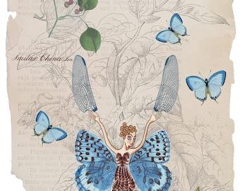 Fairy art print, butterfly art print, fairy tale nursery print, butterfly nursery decor, butterfly artwork, fantasy wall art, fairy tale art