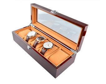 Rosewood Watch Display Case 5 Grid Watch Box - Display Case, Mens Watch Box, Gifts for Men, Wedding Gift, Gift for Him, Dad Gift, Grooms Gif