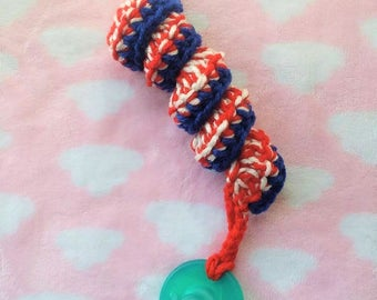 4th of July Pacifier Clip, Baby Accessory, Soothie Clip, Crochet Pacifier Clip, Red White and Blue, Independence Day