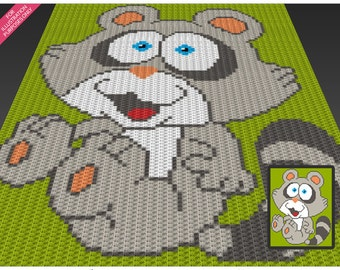 Funny Raccoon crochet blanket pattern; c2c, cross stitch; knitting; graph; pdf download; no written counts or row-by-row instructions