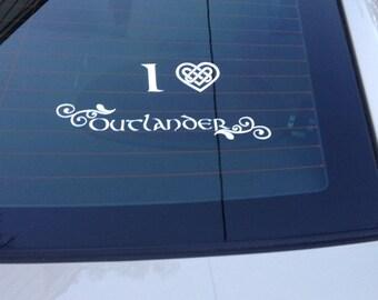 """I love Outlander Decal """"I heart Outlander"""",  Outlander car decal"""