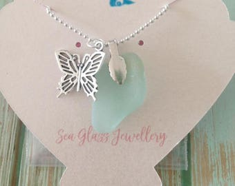 Sea Glass Butterfly necklace
