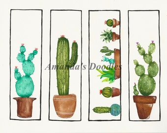 PDF DOWNLOAD - Cactus Watercolor Bookmarks - Hand painted bookmarks - Cactus booksmarks