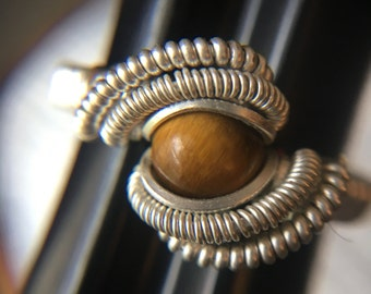Sterling Silver Wire Wrapped Tigers Eye Ring, Heady Wire Wrap, Wire Wrapped Ring, Wire Wrap Ring, Wire Wrapped Jewelry