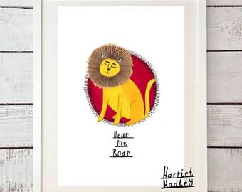 Hear Me Roar Lion Cute Game of Thrones Inspired Lannister Print Illustration Home Decor Nursery Art
